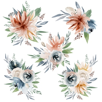 水彩花と花束