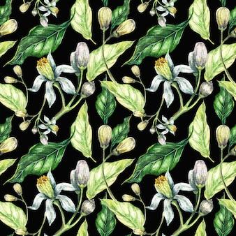 水彩花と緑の葉のシームレスパターン