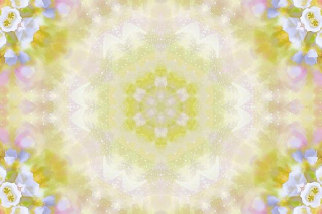 ぼやけた水彩花、花の春のパターンの背景、春の花の対称性の繰り返しイラスト、明るい花の背景