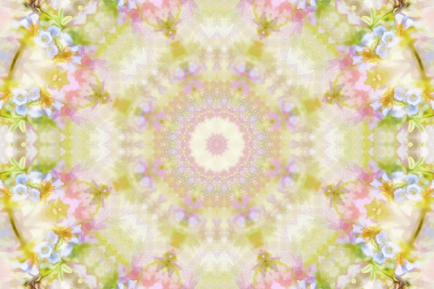 Watercolor flowers blurred, floral spring pattern background, symmetry repetition illustration of spring flowers, bright floral background