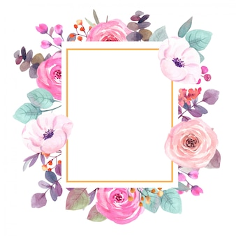 Watercolor flowers frame greeting card