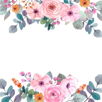 Watercolor flowers frame