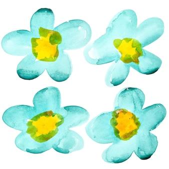 白い背景の上に分離された水彩花