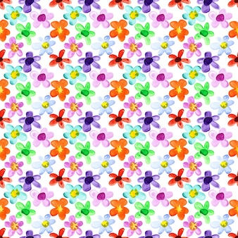 水彩花-色とりどりのシームレスな花柄