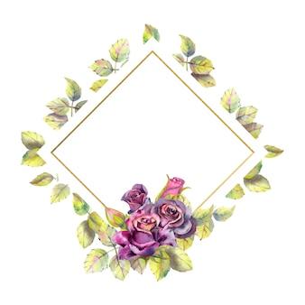 Акварельные цветы темных роз, композиция из зеленых листьев в геометрической золотой рамке