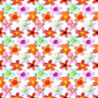 さまざまな色の水彩花-シームレスな花の背景