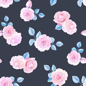 Акварельные цветы на черном фоне. бесшовный фон с розовыми розами.