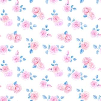 白い背景の水彩画の花。ピンクのバラとのシームレスなパターン。
