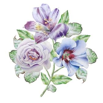 白い背景の水彩花