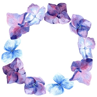 Акварельные цветы круглая рамка, гортензия