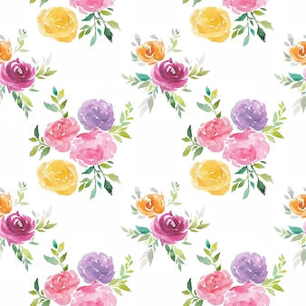 Watercolor flowers seamless pattern hand painted