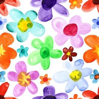 水彩花-さまざまな色のシームレスなパターン