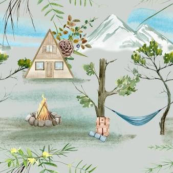 Акварель лесной кемпинг бесшовные модели