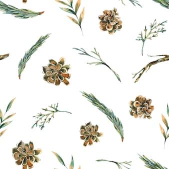 소나무 콘과 함께 수채화 숲 전나무 가지 원활한 패턴