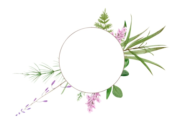Watercolor forest greenery frame. perfect for logo and wedding invitation. botanical illustration.