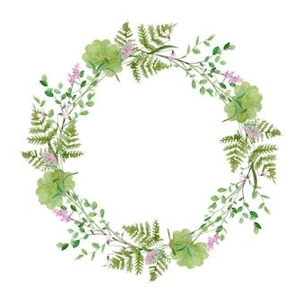 Акварель лесной зелени венок рамка на белом фоне