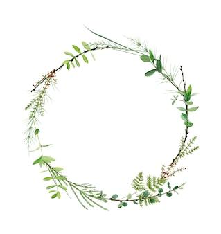 水彩の森の緑の花輪フレーム。ロゴや結婚式の招待状に最適です。植物画。