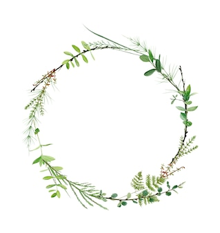 Watercolor forest greenery wreath frame. perfect for logo and wedding invitation. botanical illustration.
