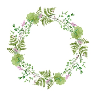 Watercolor forest greenery wreath frame on white background