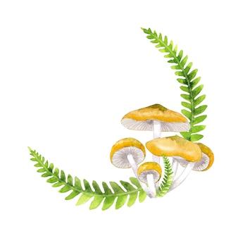 수채화 숲 버섯