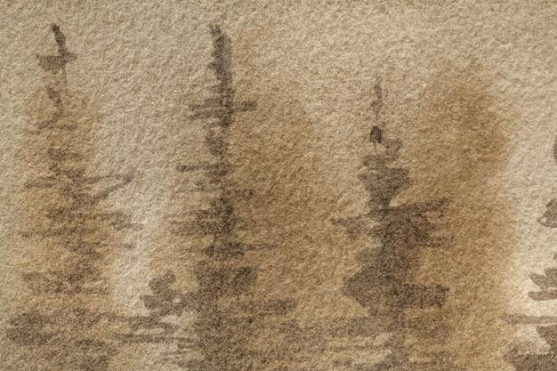 Акварельная лесная картина на холсте с бежевым мягким градиентом