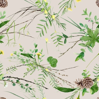 Watercolor forest plants on beige background