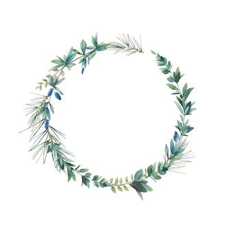 水彩の森の植物の花輪。白い背景で隔離の手描き植物フレーム。葉とブルーベリー、ユーカリの枝