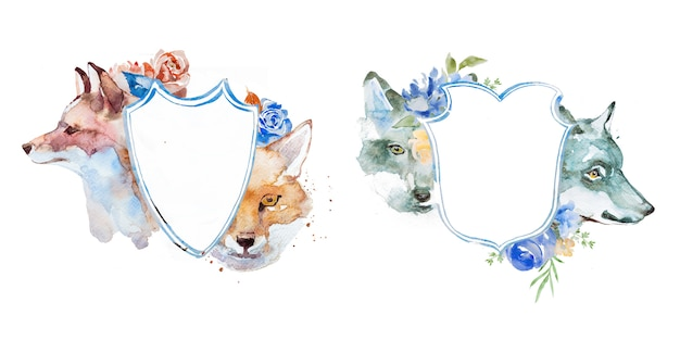 Watercolor fox and wolf with flowers frames illustrations