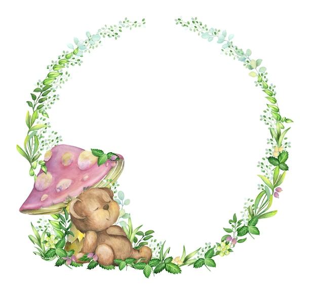 Watercolor, frame, bear; is sleeping under a mushroom