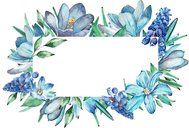 Watercolor frame of blue spring flowers. illustration.