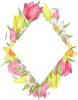 分離された最初の春の花の水彩フレーム