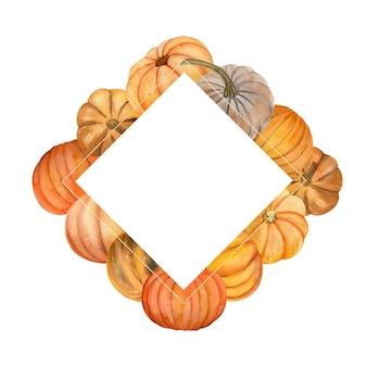 秋のカボチャと水彩フレーム。カラーカボチャのフラワーアレンジメント。