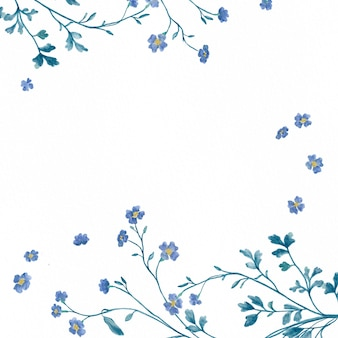 Watercolor frame with blue wildflower and branch on white background