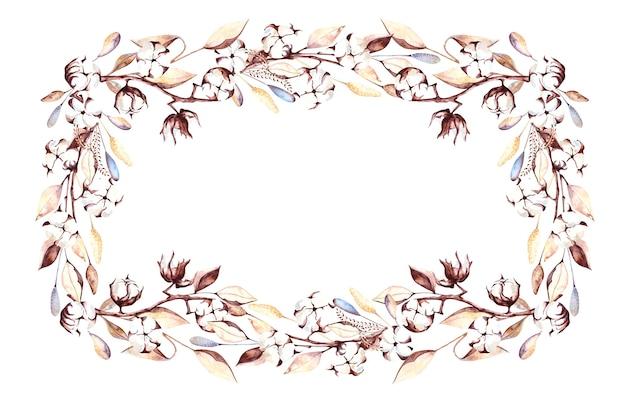 Акварельная рамка с цветами хлопка и сухими листьями