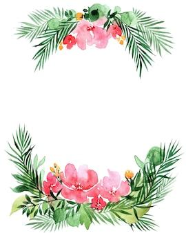 Акварельная рамка с цветами, изолированные на белом фоне. идеально подходит для дня матери, свадьбы, дня рождения, пасхи, дня святого валентина, рождественской открытки.