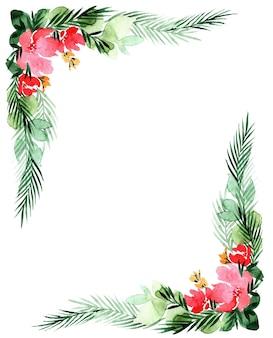 花、白い背景で隔離の水彩画フレーム。母の日、結婚式、誕生日、イースター、バレンタインデー、クリスマスカードに最適です。