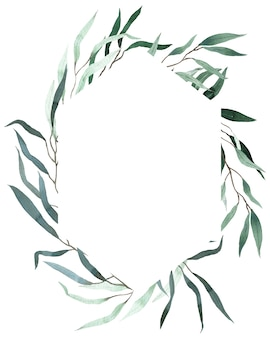 緑の柳のユーカリの葉と水彩フレーム。夏の緑のテンプレート。結婚式の花の招待状フレーム。 Premium写真