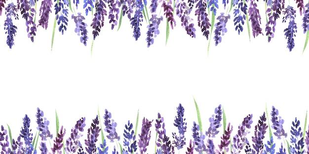 ラベンダーの花と水彩フレームライラックラベンダーの花フレームの背景