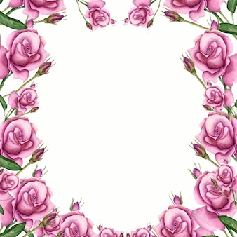 Watercolor frame with leaves and rose flower