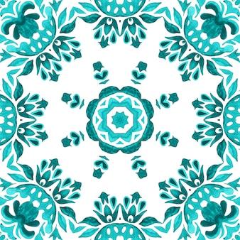 曼荼羅の手描きの花が飾られた水彩画のフレーム。シームレスパターンセラミックタイル