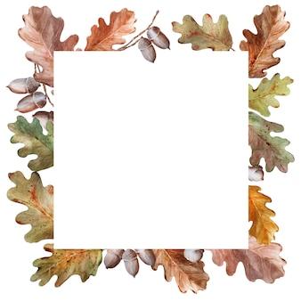 オークの小枝、葉、ドングリの水彩画フレーム