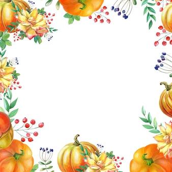 주황색 호박, 노란 장미, 녹색 잎이 있는 수채화 프레임. 흰색 바탕에 수채화 그림입니다. 가을 수확. 신선한 채식 음식입니다. 추수 감사절 휴일입니다. 격리 된 손으로 그린된 스케치입니다.
