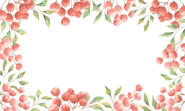 Watercolor frame with red berries and green leaves on a white background, summer design for cards, invitations, posters
