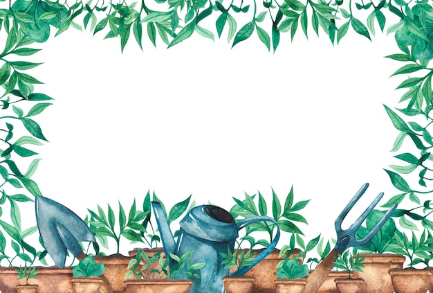 Watercolor frame with seedlings of greenery in pots and garden tools watering can garden shovel and rake frame background