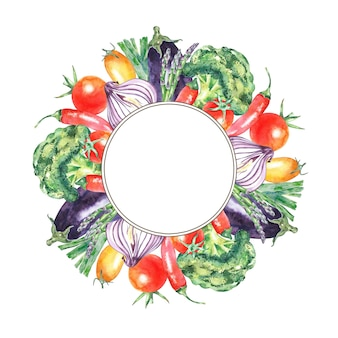 野菜と水彩フレーム