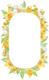 Watercolor frame with yellow spring daffodils and mimosa branches