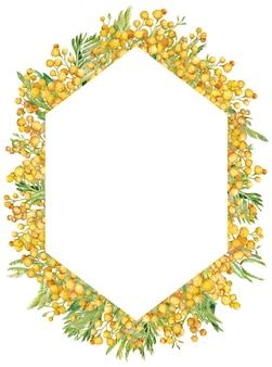 Акварельная рамка с желтой весенней мимозой.