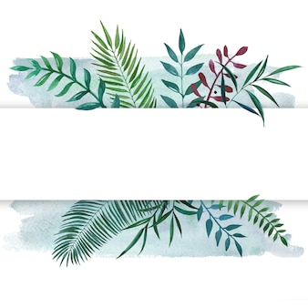 Watercolor framed banner with botanical leaves