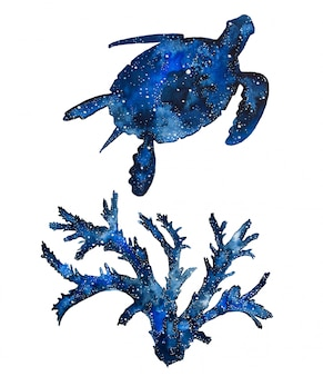 Watercolor galaxy sea animals.handpainted turtle and corals.