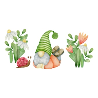 Watercolor garden gnome isolated on white background